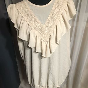 No sleeve top with ruffle at front and back